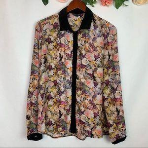 TopShop Floral Button Up Long Sleeve Shirt 10